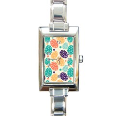 Egg Flower Floral Circle Orange Purple Blue Rectangle Italian Charm Watch by Alisyart