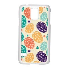Egg Flower Floral Circle Orange Purple Blue Samsung Galaxy S5 Case (white) by Alisyart