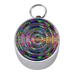 Wave Line Colorful Brush Particles Mini Silver Compasses by Amaryn4rt