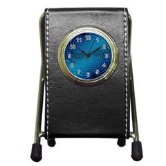 Abstract Fractal Blue Background Pen Holder Desk Clocks by Amaryn4rt