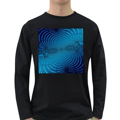 Abstract Fractal Blue Background Long Sleeve Dark T-Shirts