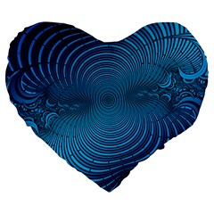 Abstract Fractal Blue Background Large 19  Premium Heart Shape Cushions by Amaryn4rt