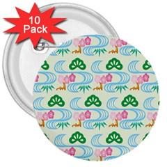 Flower Arrangements Season Sunflower Green Blue Pink Red Waves 3  Buttons (10 Pack)  by Alisyart