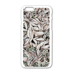 Ice Leaves Frozen Nature Apple Iphone 6/6s White Enamel Case by Amaryn4rt