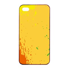 Paint Stains Spot Yellow Orange Green Apple Iphone 4/4s Seamless Case (black) by Alisyart