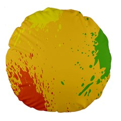 Paint Stains Spot Yellow Orange Green Large 18  Premium Flano Round Cushions by Alisyart