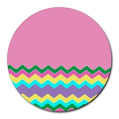 Easter Chevron Pattern Stripes Round Mousepads by Amaryn4rt