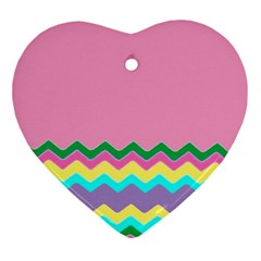 Easter Chevron Pattern Stripes Ornament (heart) by Amaryn4rt