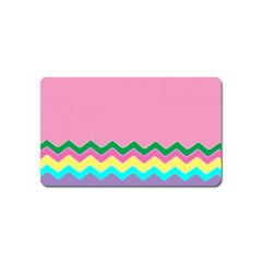 Easter Chevron Pattern Stripes Magnet (name Card) by Amaryn4rt