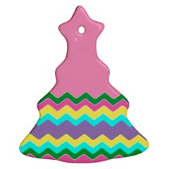 Easter Chevron Pattern Stripes Christmas Tree Ornament (two Sides) by Amaryn4rt