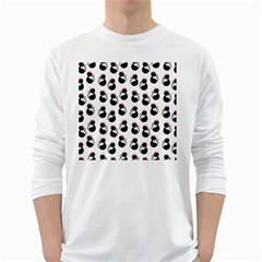 Cat Seamless Animal Pattern White Long Sleeve T Shirts by Amaryn4rt