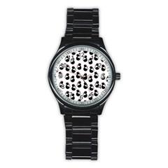 Cat Seamless Animal Pattern Stainless Steel Round Watch by Amaryn4rt