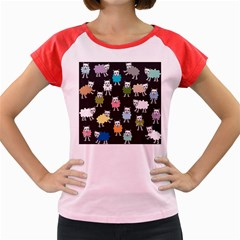 Sheep Cartoon Colorful Women s Cap Sleeve T Shirt by Amaryn4rt