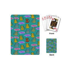 Meow Cat Pattern Playing Cards (mini)  by Amaryn4rt