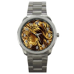Stripes Tiger Pattern Safari Animal Print Sport Metal Watch by Amaryn4rt