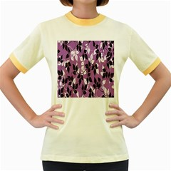 Floral Pattern Background Women s Fitted Ringer T Shirts by Amaryn4rt