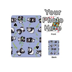 Panda Tile Cute Pattern Blue Playing Cards 54 (mini)