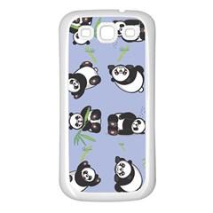 Panda Tile Cute Pattern Blue Samsung Galaxy S3 Back Case (white)