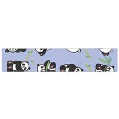 Panda Tile Cute Pattern Blue Flano Scarf (small) by Amaryn4rt