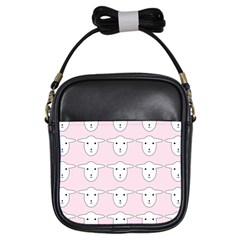Sheep Wallpaper Pattern Pink Girls Sling Bags by Amaryn4rt