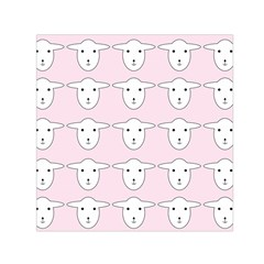 Sheep Wallpaper Pattern Pink Small Satin Scarf (square) by Amaryn4rt