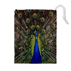 Bird Peacock Display Full Elegant Plumage Drawstring Pouches (extra Large)