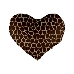 Leather Giraffe Skin Animals Brown Standard 16  Premium Heart Shape Cushions by Alisyart