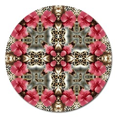 Flowers Fabric Magnet 5  (round)