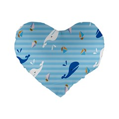 Whaling Ship Blue Sea Beach Animals Standard 16  Premium Flano Heart Shape Cushions by Alisyart