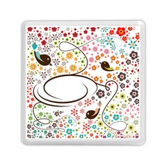 Flower Floral Rose Sunflower Bird Back Color Orange Purple Yellow Red Memory Card Reader (square)  by Alisyart
