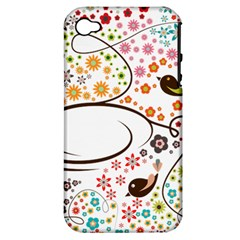 Flower Floral Rose Sunflower Bird Back Color Orange Purple Yellow Red Apple Iphone 4/4s Hardshell Case (pc+silicone) by Alisyart