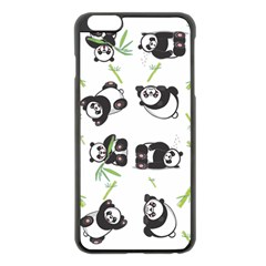 Panda Tile Cute Pattern Apple Iphone 6 Plus/6s Plus Black Enamel Case