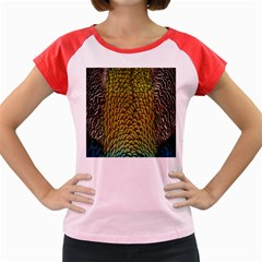 Colorful Iridescent Feather Bird Color Peacock Women s Cap Sleeve T Shirt
