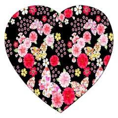 Flower Arrangements Season Rose Butterfly Floral Pink Red Yellow Jigsaw Puzzle (heart) by Alisyart