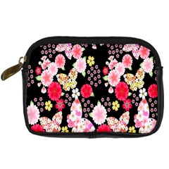 Flower Arrangements Season Rose Butterfly Floral Pink Red Yellow Digital Camera Cases by Alisyart