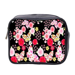 Flower Arrangements Season Rose Butterfly Floral Pink Red Yellow Mini Toiletries Bag 2 Side by Alisyart