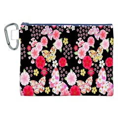 Flower Arrangements Season Rose Butterfly Floral Pink Red Yellow Canvas Cosmetic Bag (XXL) by Alisyart
