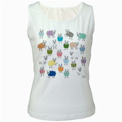 Sheep Cartoon Colorful Women s White Tank Top by Amaryn4rt