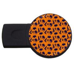 Witch Hat Pumpkin Candy Helloween Blue Orange Usb Flash Drive Round (2 Gb) by Alisyart
