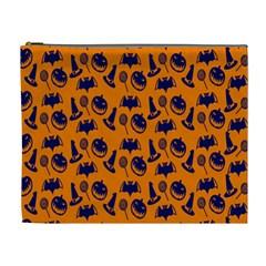 Witch Hat Pumpkin Candy Helloween Blue Orange Cosmetic Bag (xl) by Alisyart