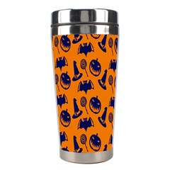 Witch Hat Pumpkin Candy Helloween Blue Orange Stainless Steel Travel Tumblers by Alisyart