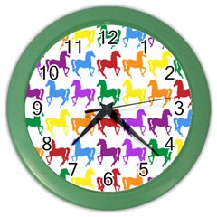Colorful Horse Background Wallpaper Color Wall Clocks by Amaryn4rt