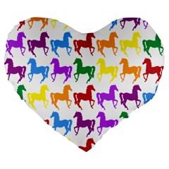 Colorful Horse Background Wallpaper Large 19  Premium Heart Shape Cushions