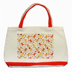 Animal Pattern Happy Birds Seamless Pattern Classic Tote Bag (red)