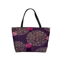 Twig Surface Design Purple Pink Gold Circle Shoulder Handbags by Alisyart