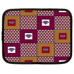 African Fabric Diamon Chevron Yellow Pink Purple Plaid Netbook Case (xl)  by Alisyart