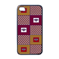 African Fabric Diamon Chevron Yellow Pink Purple Plaid Apple Iphone 4 Case (black) by Alisyart