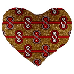 African Fabric Iron Chains Red Purple Pink Large 19  Premium Flano Heart Shape Cushions by Alisyart