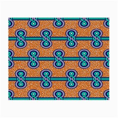 African Fabric Iron Chains Blue Orange Small Glasses Cloth (2 Side) by Alisyart