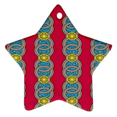 African Fabric Iron Chains Red Yellow Blue Grey Ornament (star) by Alisyart